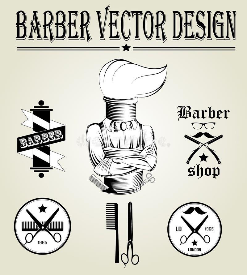 Drog logoen för tappning shoppar handen av barberaren vektor illustrationer
