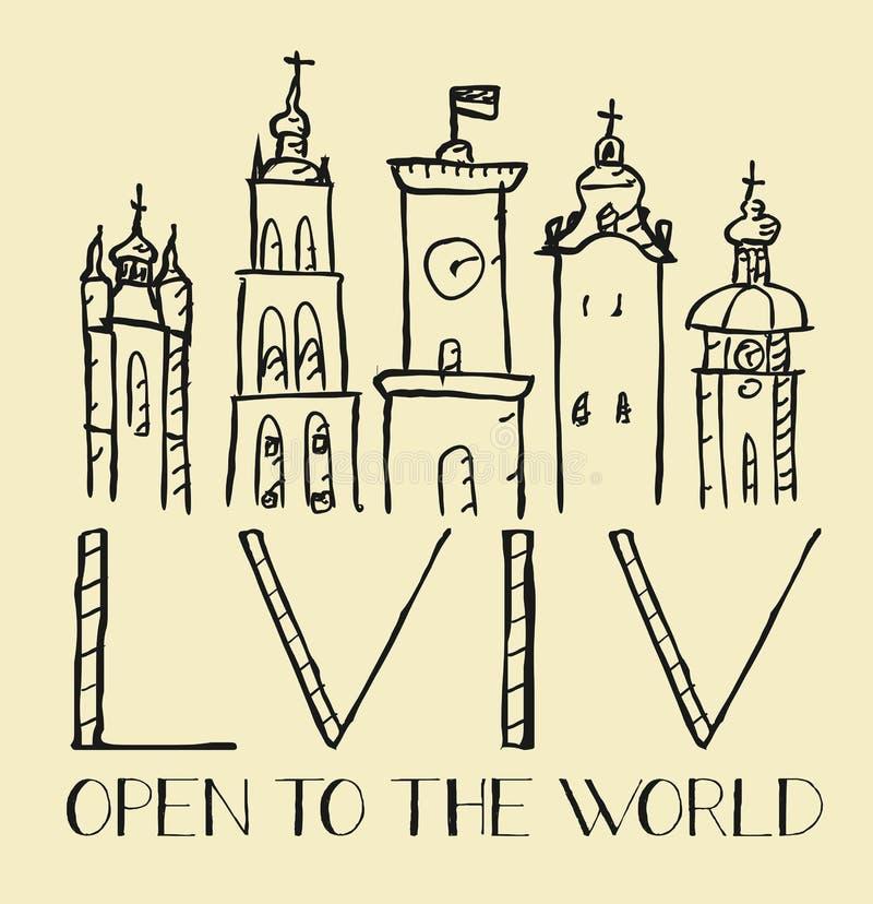 Drog logoen för vektorn isolerade handen av staden av Lviv Ukraina pe vektor illustrationer