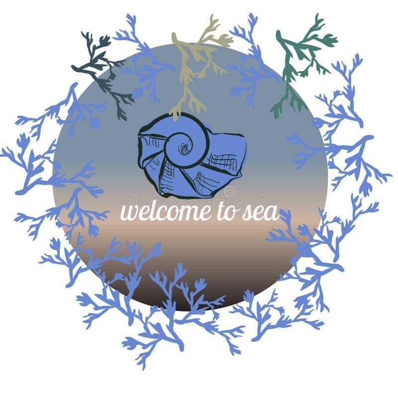 Drog mallen för vektorsommar som färgar handen göras på det blåa havet, med handen målade snäckskalet, havskorall, cirkelram Desi vektor illustrationer