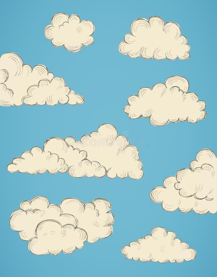 Drog moln för tappning hand vektor illustrationer