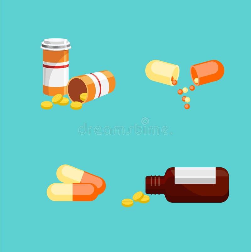 Drog och preventivpillerar royaltyfri illustrationer