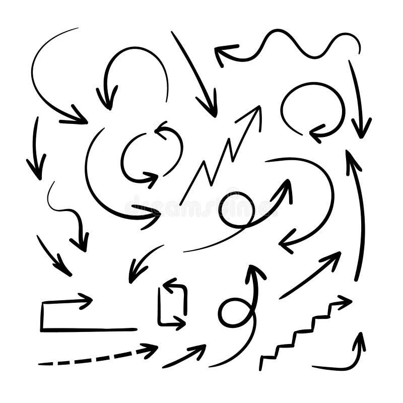 Drog pilar för vektor hand, designbeståndsdeluppsättning, svart pilbakgrund royaltyfri illustrationer