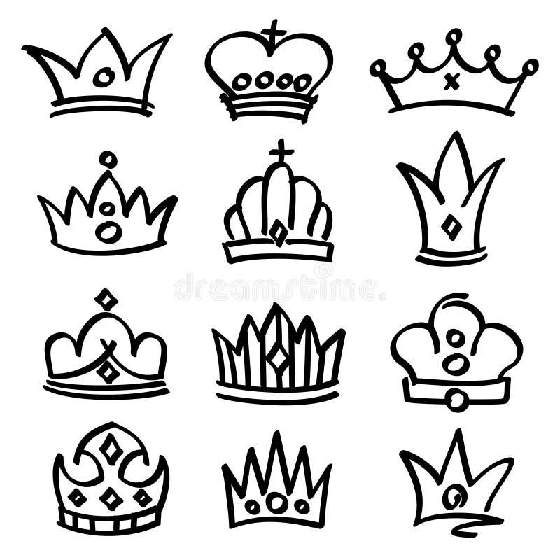 Drog prinsessakronor för vektor hand Skissa klotterroyaltysymboler royaltyfri illustrationer