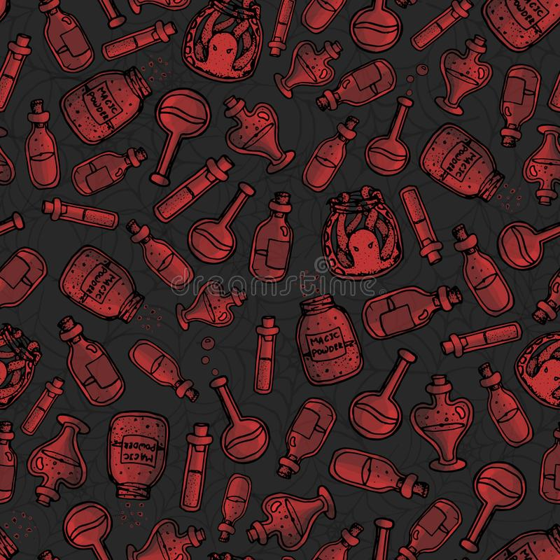 drog röda häxan för vektorn buteljerar handen den sömlösa modellen på mörkret - grå bakgrund Inkluderar drycker, elixir och små m royaltyfri illustrationer