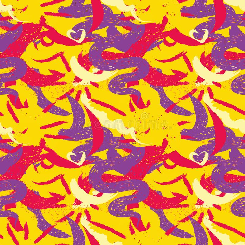 Drog sömlösa borstar för modell hand Uttrycksfullt torka den sömlösa modellen för färg Minimalistic idérika trendslaglängder Vint vektor illustrationer