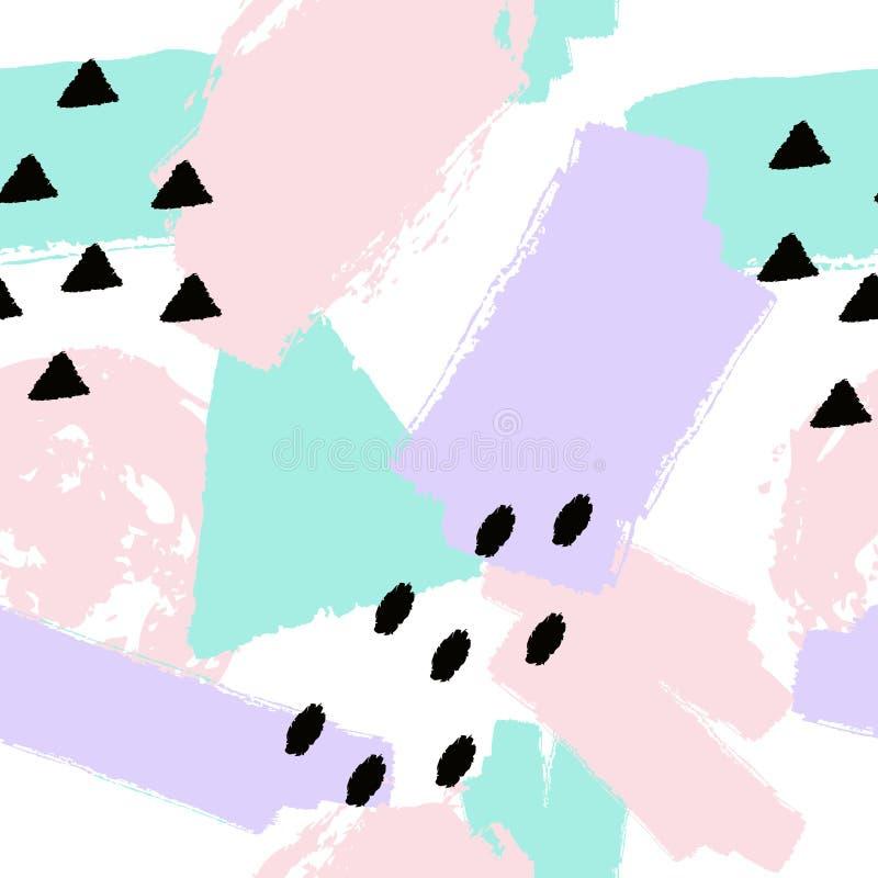 Drog sömlösa modellen för vektorabstrakt begrepp borstar handen med geometriskt och målade beståndsdelar stock illustrationer