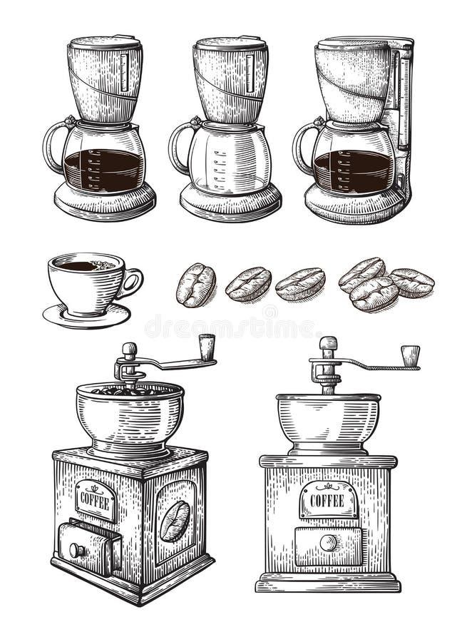 Drog samlingsvektorn för kaffe skissar handen uppsättningen med maskinen för molar för Latte för koppbönatillverkaren stock illustrationer