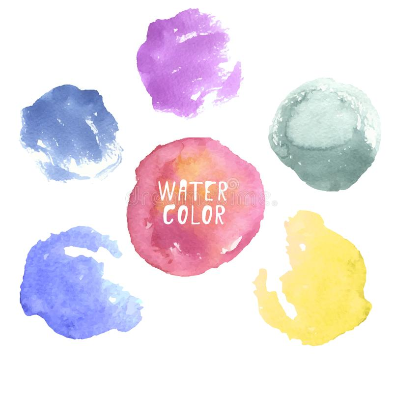 Drog vattenfärgen för vektorn cirklar pricker den färgrika handen, färgstänk, fläckar på vit bakgrund Abstrakta dekorativa klicka stock illustrationer