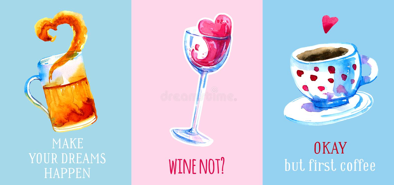 Drog vattenfärgen in för vin, för öl och för kaffe ställde handen för affischer och kort på färgrika bakgrunder royaltyfri illustrationer