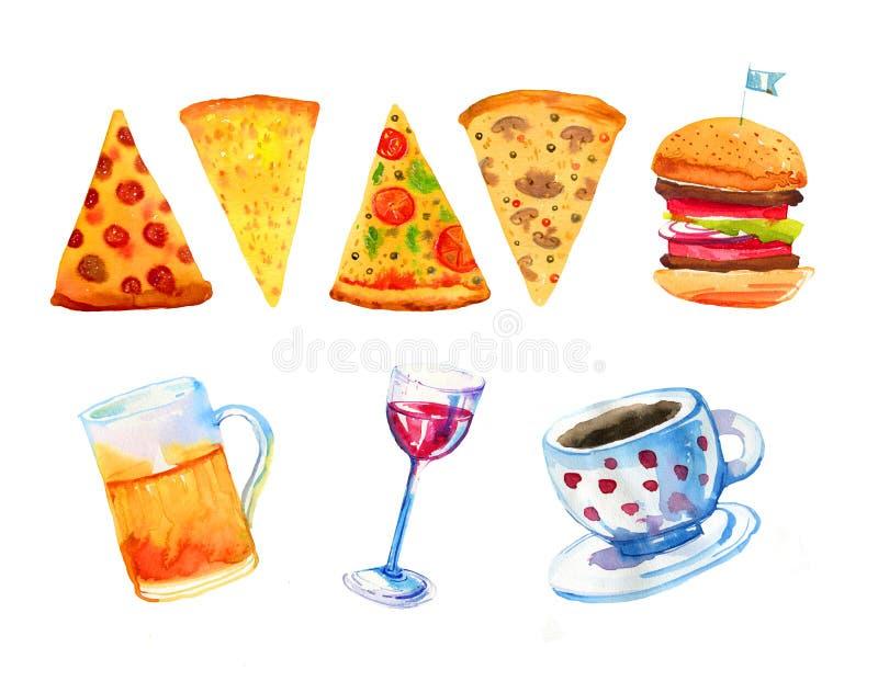 Drog vattenfärgen in för vin, för öl, för pizza, för hamburgaren och för kaffe ställde handen för affischer och kort vektor illustrationer