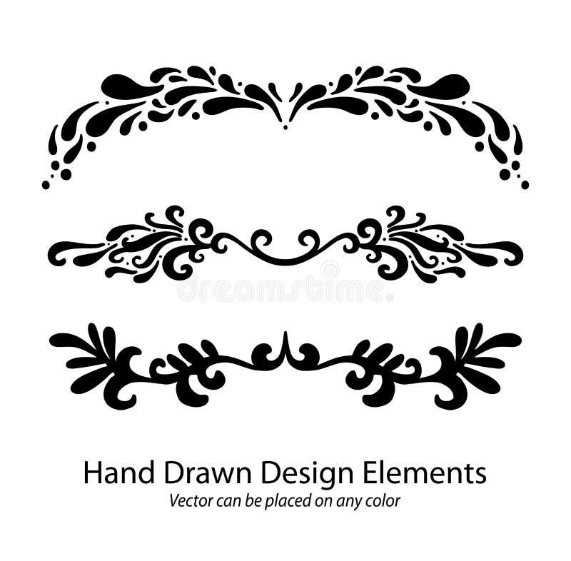 Drog vektorbeståndsdelar av handen stycker avdelare eller infallunderstrykningsmodeller vektor illustrationer