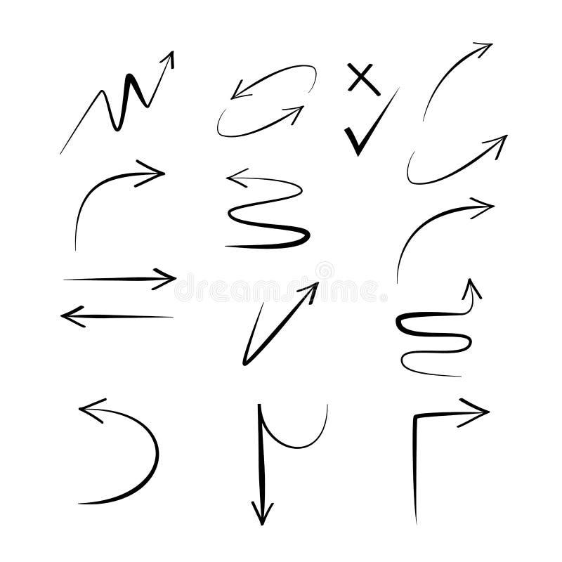 Drog vektorpilar för klotter hand Fastställda svarta pilar på vit bakgrund stock illustrationer