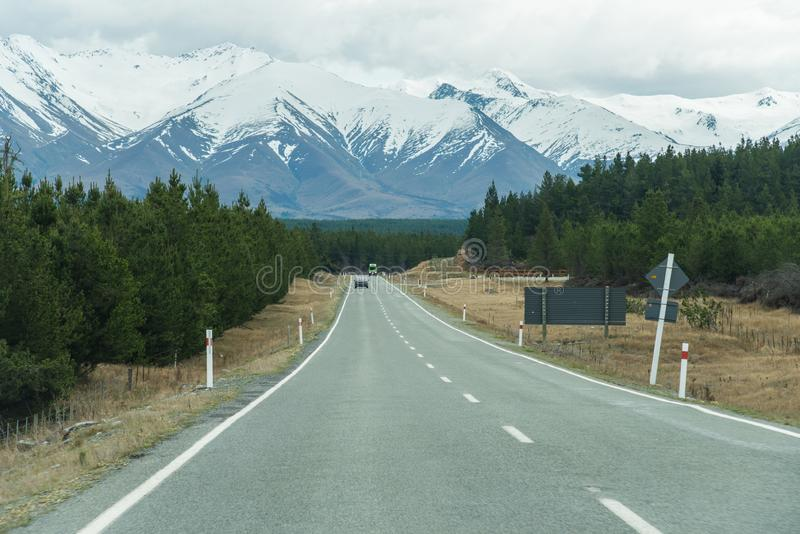 Droga Aoraki, góra/Cook wysokich gór szczyt w Nowa Zelandia zdjęcia royalty free