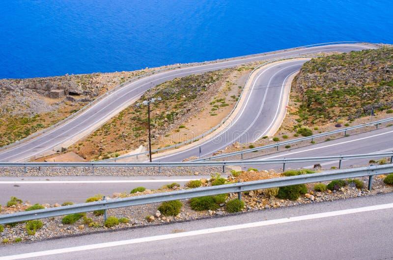 Droga blisko Chora Sfakion na Crete wyspie, Grecja obrazy stock