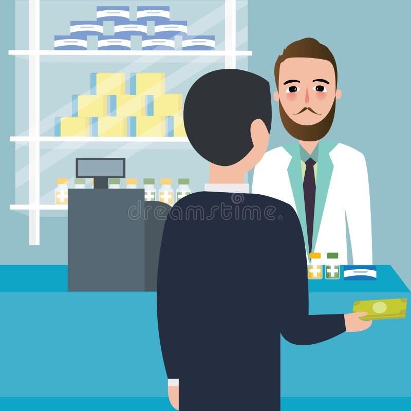 Droga de compra do consumidor dos povos na loja da farmácia da drograria no caixa contrário do pagamento ilustração royalty free