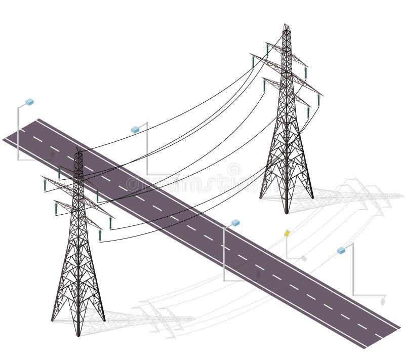 Droga dla samochodów krzyżujących wysokim woltażem wykłada, latarnie uliczne Infrastruktury przecinać royalty ilustracja