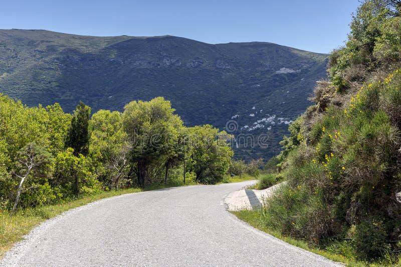 Droga do gór w pobliżu miejscowoÅ›ci Andros Island, Grecja, Cyklady zdjęcie royalty free