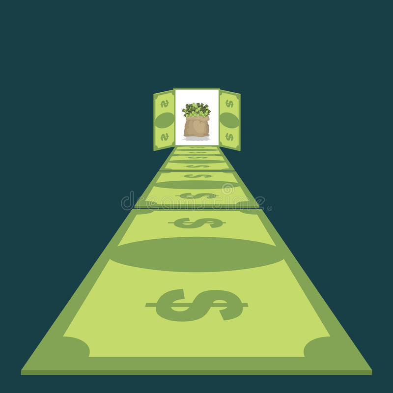 Droga dolary Ścieżka dobrobyt footpath pieniądze gotówkowa torba royalty ilustracja