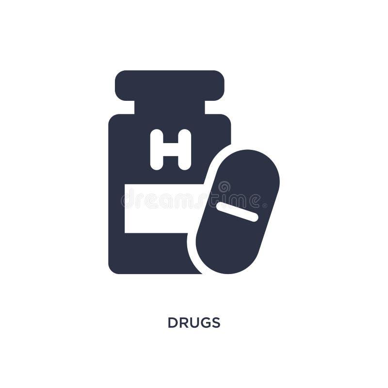 Droga el icono en el fondo blanco Ejemplo simple del elemento del concepto médico ilustración del vector