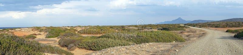 Droga gruntowa i panorama skały wybrzeże fotografia royalty free