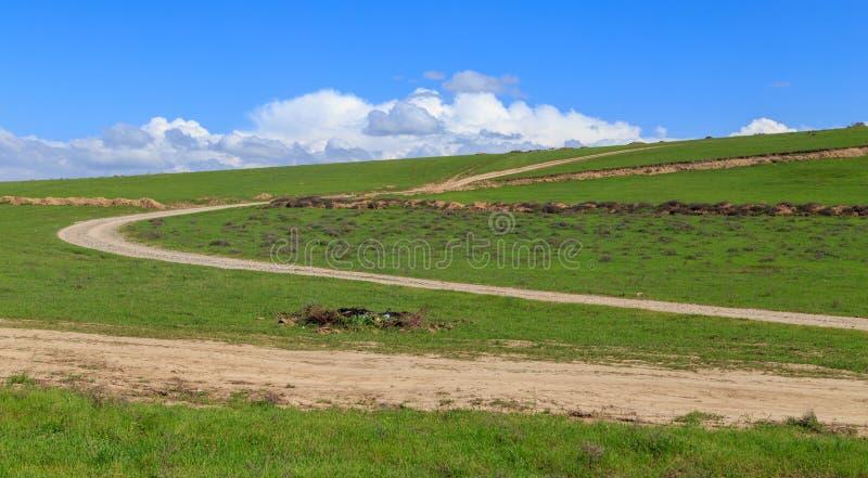 Droga gruntowa w polu w wiośnie zdjęcia stock