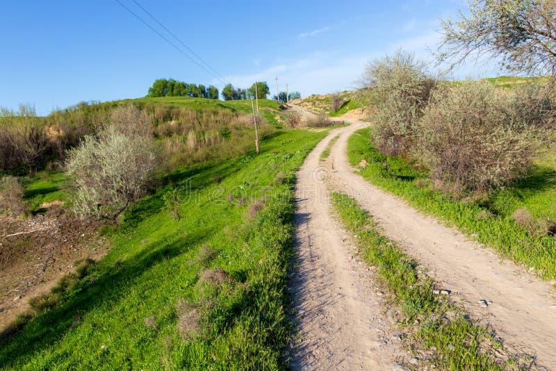 Droga gruntowa w polu w wiośnie zdjęcia royalty free