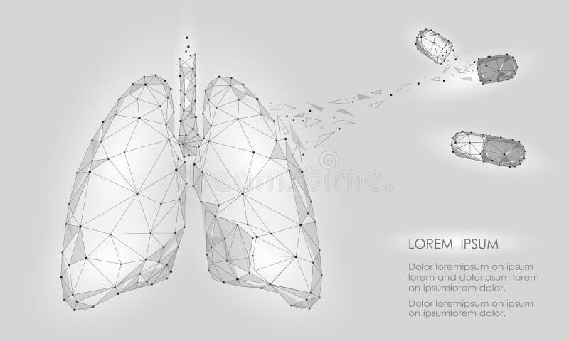 Droga humana do tratamento da medicina dos pulmões do órgão interno Baixo projeto poli da tecnologia Pontos conectados da cor tri ilustração stock