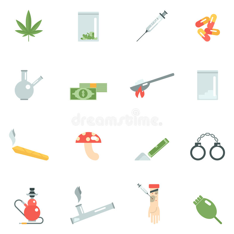 Droga iconos completamente ilustración del vector