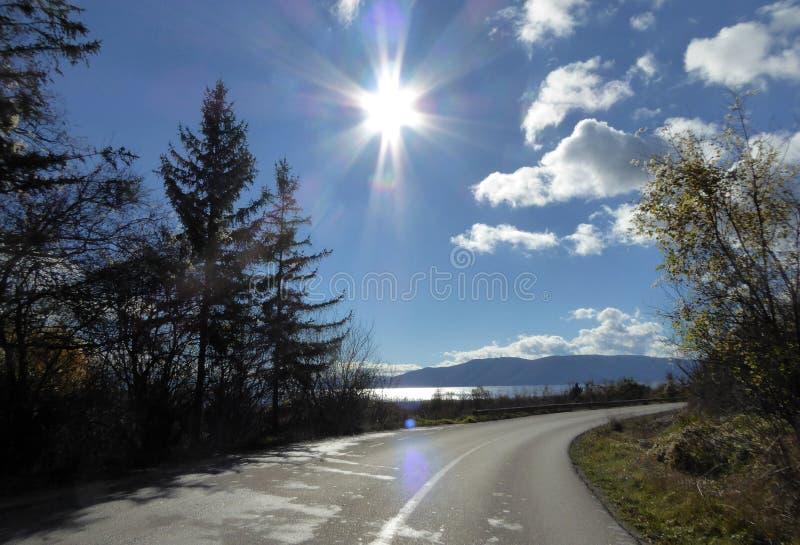 Droga Jeziorny Prespa, Macedonia zdjęcie royalty free
