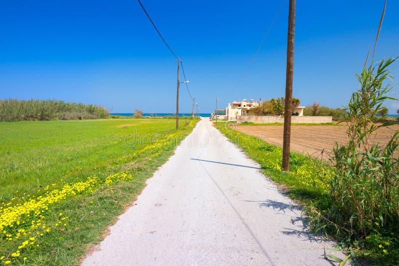 Droga Maleme plaża na Crete, Grecja zdjęcia royalty free