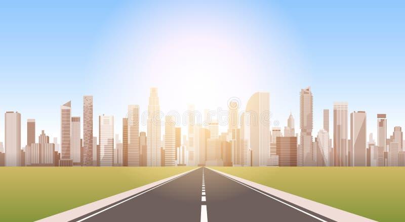 Droga miasto drapacza chmur widoku pejzażu miejskiego tła linii horyzontu sylwetka z kopii przestrzenią ilustracja wektor