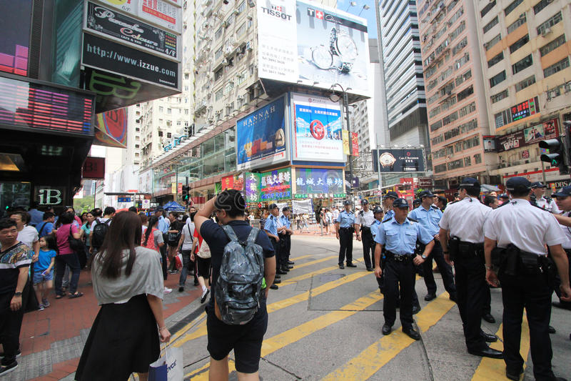 Droga na grobli podpalany uliczny widok w Hong Kong obrazy royalty free