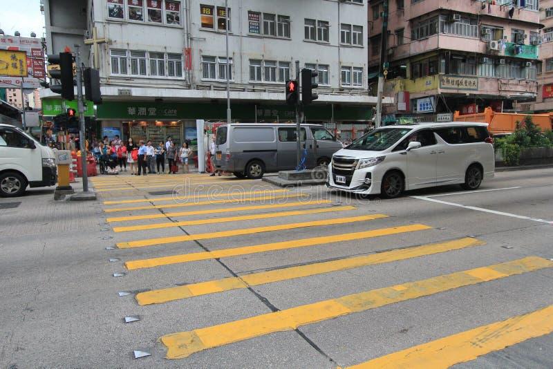 Droga na grobli podpalany uliczny widok w Hong Kong obraz stock