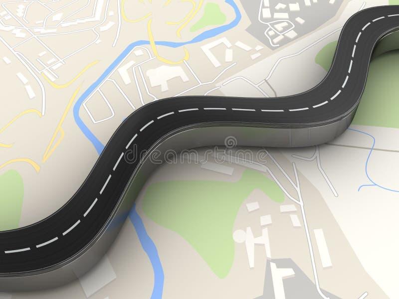 Droga nad mapą ilustracji