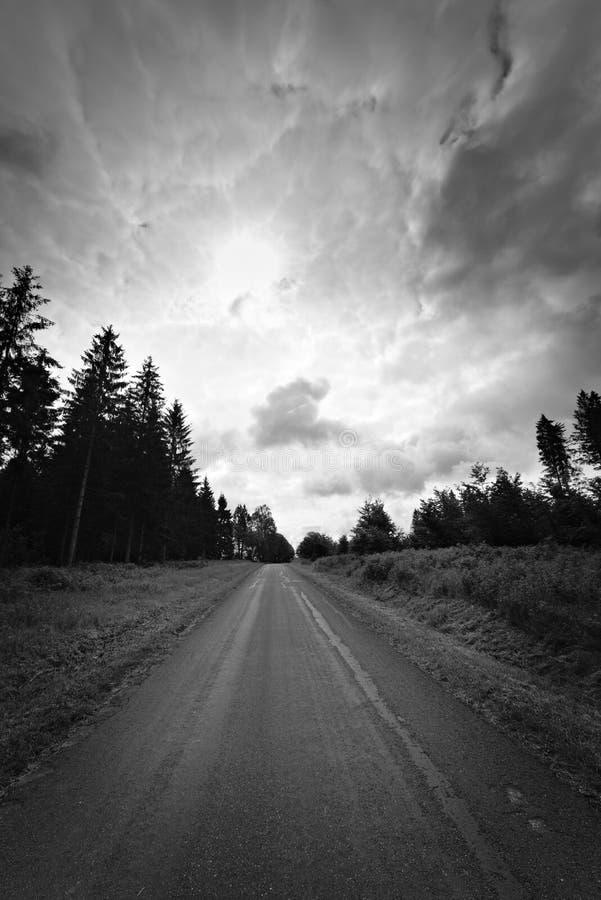 Droga nigdzie w czarny i bia?y zdjęcie royalty free