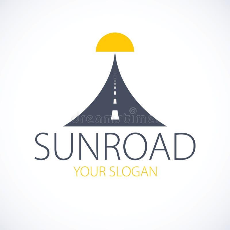 Droga położenia słońce, autostrada projekta wektor doskonalić logo lub ilustracja Obozować, temat, samochód lub autobus, podróży  royalty ilustracja