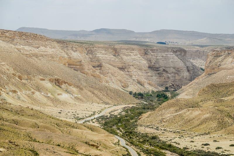 Droga przez pustynia negew w Izrael fotografia stock