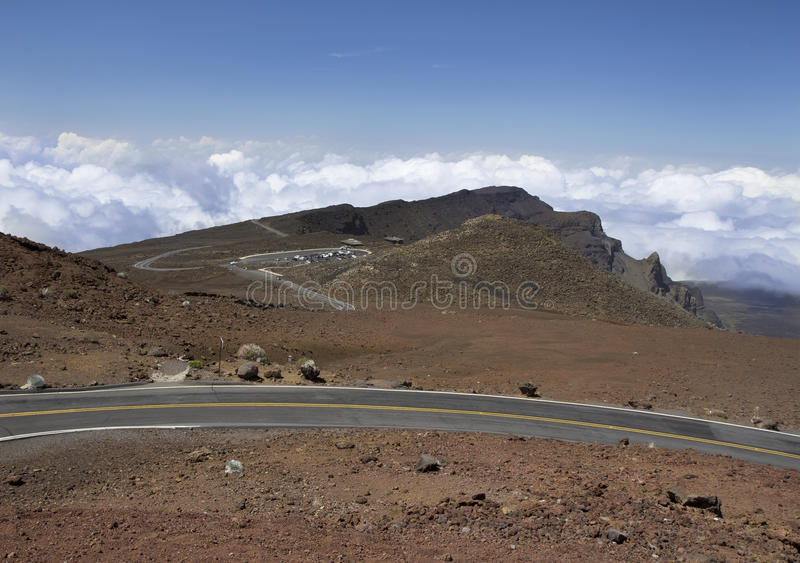 Droga przy Haleakala parkiem narodowym, Maui, Hawaje obraz stock