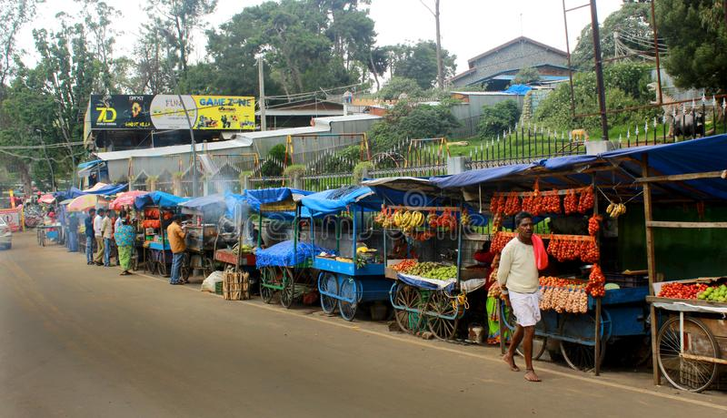 Droga robi zakupy przy kodaikanal jeziorem blisko łódkowatego domu zdjęcia stock