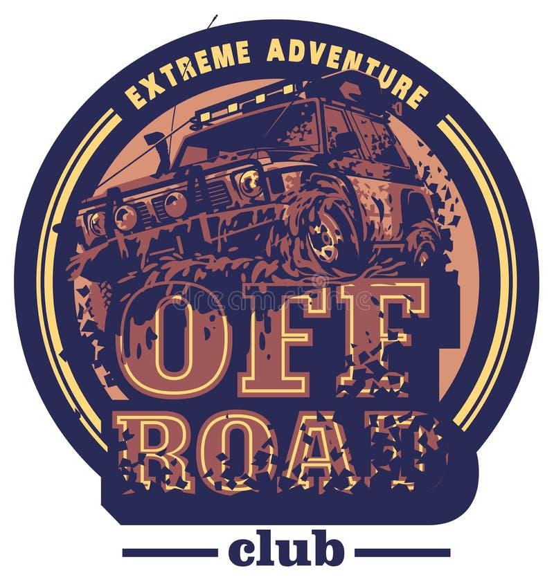 Droga samochodowy logo, borowinowy terenu suv, wyprawy offroader ilustracja wektor