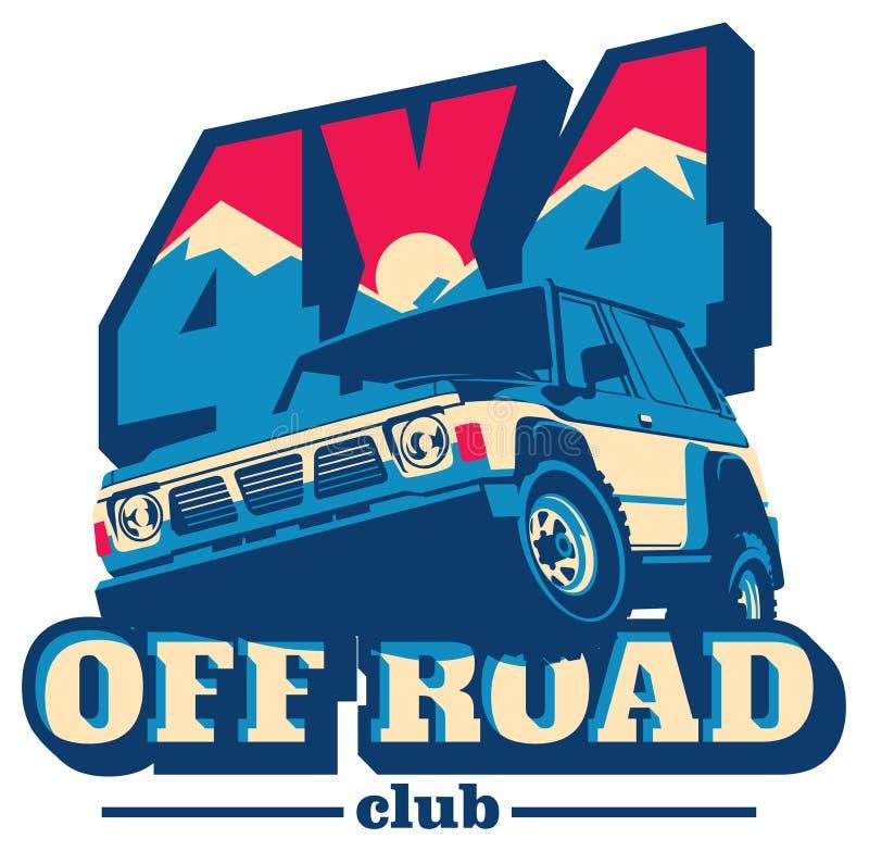 Droga samochodowy logo, safari suv, wyprawy offroader ilustracji