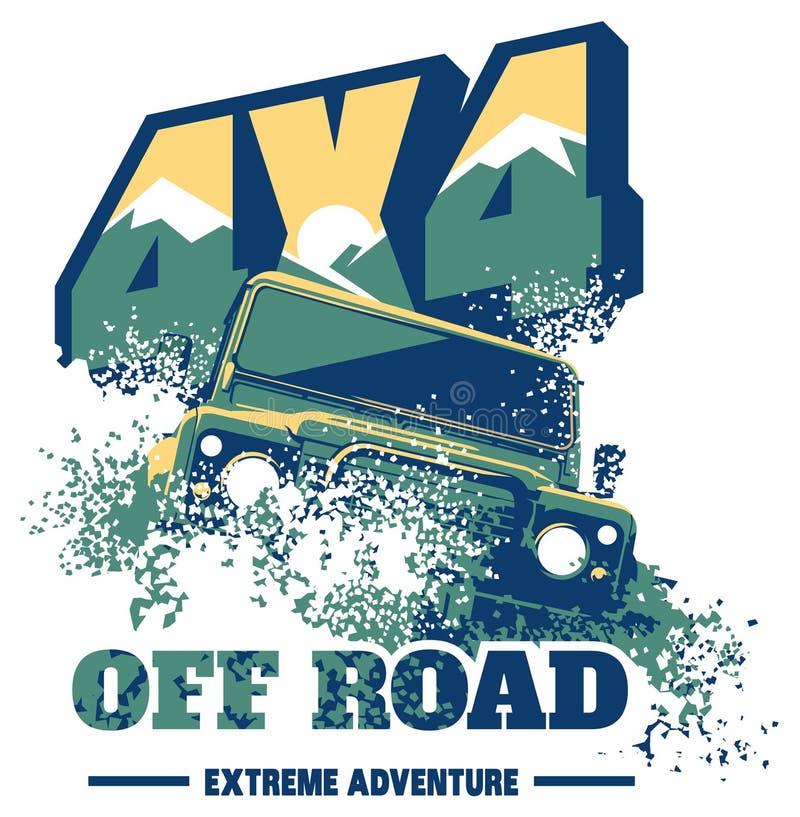 Droga samochodowy logo, safari suv, wyprawy offroader royalty ilustracja