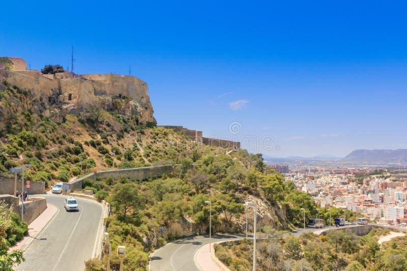 Droga Santa Barbara kasztel w Alicante, Hiszpania fotografia royalty free