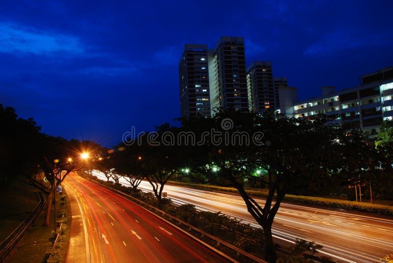 droga Singapore nocy obraz royalty free