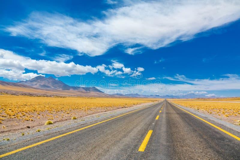 Droga w Atacama Altiplana pustyni, Chile, Ameryka Południowa obrazy royalty free