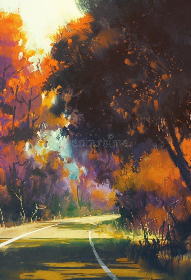 Droga w jesień lesie ilustracji