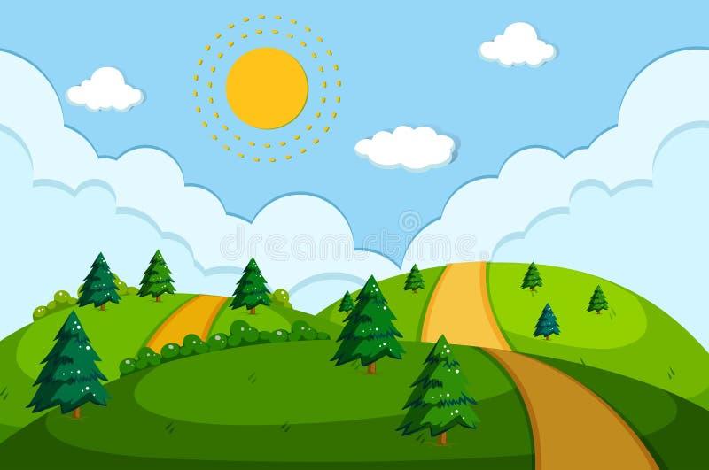 Droga w pięknej naturze ilustracji