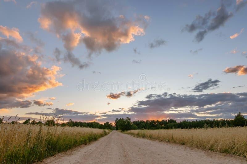 droga w polu przy zmierzchem z chmurami obrazy royalty free