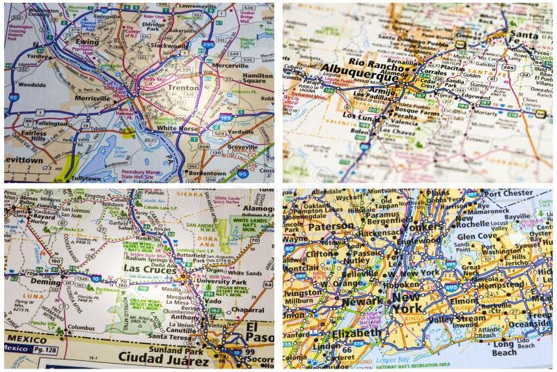 Droga wakacje kartografuje kolaż fotografia royalty free