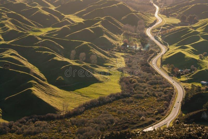 Droga wi się wśród powulkanicznych wzgórzy w Rotorua obrazy stock